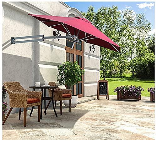 Lqdp Sombrilla Espacio Libre para sombrillas de Patio: toldo de poliéster con protección UV del 95%, Sunbrella Vintage con manivela y 8 Varillas Resistentes, fácil de Instalar