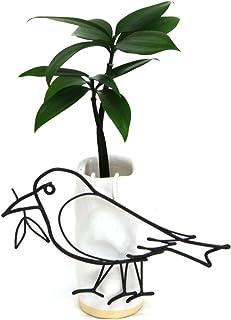 日本古来の植物 「ご神木 梛 (なぎ) の木」と『陶房 うさぎ庵』特製 手作り「陶製角筒水盆器」+ワイヤーアート「八咫烏 (やたがらす):日本神話に登場する神鳥」 1個セット