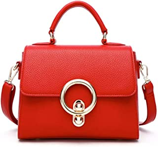 Runhuayou New Dainty and Beautiful Retro Casual Fashion Handbag Shoulder Slung Diminished Leather Handbag Great for Casual or Many Other Occasions Such (Color : Red)