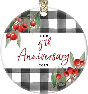 5th Wedding Anniversary Ornament 2019 Christmas Five 5 Years Married Couple Holiday Present Fifth Year Wed Partner Wife Husband Spouse Keepsake 3
