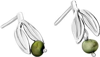 Martha Vargas: Aretes plata ley .925 colección olivos hojas con perlas colgantes