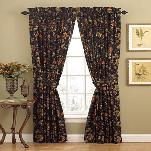 "WAVERLY Felicite Rod Pocket Curtains for Living Room, Single Panel, 50"" x 84"", Noir"