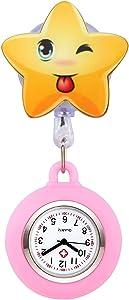 manifo orologi infermiera Fob Orologio Cardiofrequenzimetro Nurse Watch Orologio Kittel silicone Cartoon Stella Orologio da tasca orologio da infermiera rosa chiaro