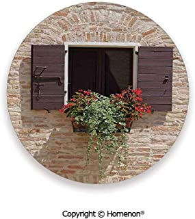 Antique Looking Window on an Ancient Stone Wall With Flowers Pienza Tuscany Picture,Absorbent Ceramic Coasters For Drinks Brown Ivory,3.9×0.2inches(8PCS),Ceramic Coasters Set With Cork Base