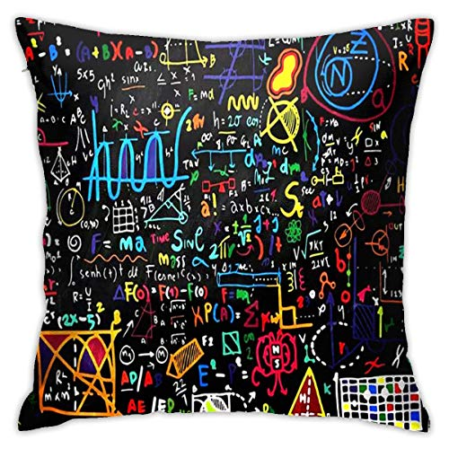 WEIXIA Cotton Linen 16.5 X 16.5 Inch Blackboard Mural Throw Pillow Covers for Sofa Couch Home Decorative Pillow Case