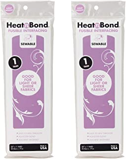Thermoweb 3336 Heat'n Bond Light Weight Iron-On Fusible Interfacing-White 20X36 2 Pack (2)
