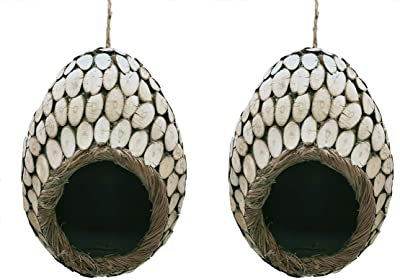 LWINGFLYER 2pcs Bird House for Outside Hanging Bird Hut Wood Sticking Nest Cozy Resting Place for Birds 6.29inch/16cm