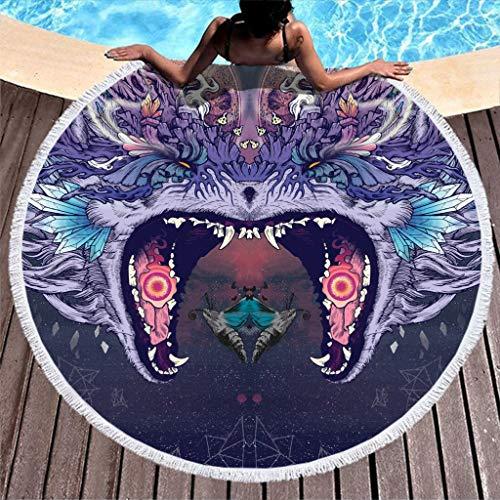 N/A Wolf - Toalla de playa redonda con borlas (150 x 150 cm), Fibra de poliéster, blanco, 150 cm