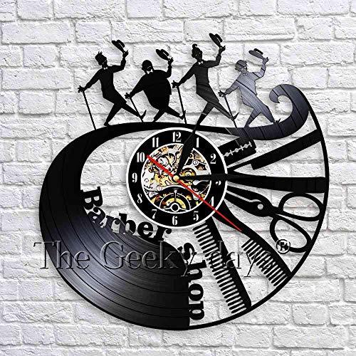 fdgdfgd Classic CD Record Barber Shop Disco de Vinilo Reloj de Pared Art Barber Salon Peluquería Creativa | Decoración Fresca del Reloj Que Cambia de Color