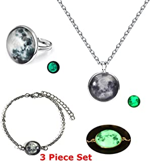 Lunar Full Moon Necklace Bracelet & Ring Set Eclipse Glow In The Dark Luminescent Pendant Astrology Space Science Witchcraft Goth Emo Stud Earrings Halloween Costume NASA Space Astrology (Moon3)