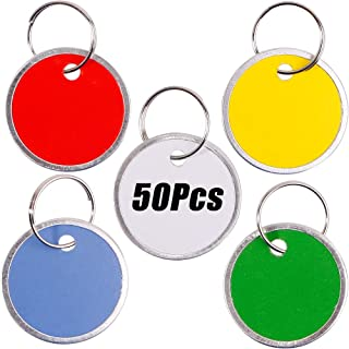 InterUS 50 Pack Key Tags with Assorted Split Ring Metal Rim, Sturdy Metal Rimmed Paper Tags