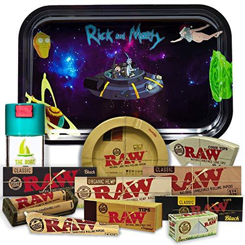 Bandeja para liar Rick and Morty 27,5cm x 17,5cm + Cenicero RAW + Bote Antiolor THE BOAT + Maquina de liar 79mm + Papel Raw 1 1/4 Organic, Black y Classic + Tips Maestro, Orgánico y Classic.