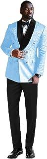 طقم بدلة رجالي من QZI من قماش الجاكار المزين بالزهور مزدوج الصدر يمكن فصلها بياقة من الساتان