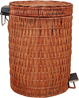 Vintage Trash Can,Waste Can,Wastepaper Basket,Receptacle,Bin,Recycling,Boho,Bohemian,Rattan,Wicker,Storage Organization,Gift under 100