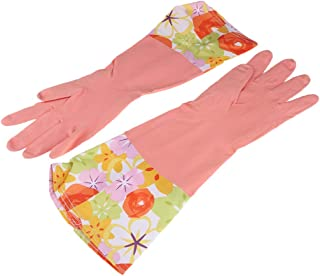 Baosity Strong Household Latex Gloves Velvet Long Sleeve Washing Up Cleaning Kitchen