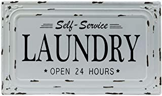 VIPSSCI Distressed White Metal Self Service Laundry Decorative Sign