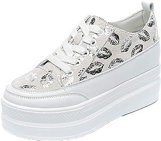 Zapatos de Plataforma para Mujer Zapatos de Punta Redonda con Cordones Zapatos de Fondo Grueso Zapatillas de otoño Zapatos...