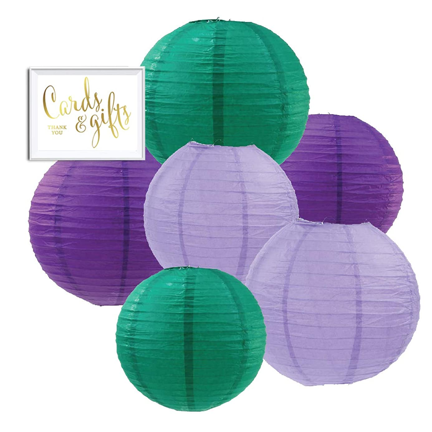 Andaz Press Aqua, Lavender, Purple Hanging Paper Lanterns Decorative Kit, 6-Pack with Free Gifts Table Party Sign, Mermaid, Princess, Pony Birthday Party Decorations, Assorted 8-Inch 10-Inch Sizes wso7954492