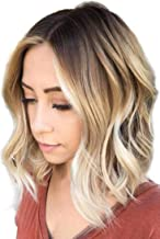 Short Wavy Ombre Blonde Wigs for Black Women Shoulder Length Curly Synthetic Hair Wigs for Wome Middle Part Bob Heat Resistant Wig