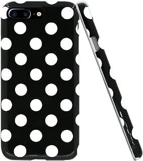 Lartin Soft Flexible Jellybean Gel TPU Case for iPhone 7 Plus / iPhone 8 Plus (Black White Polka Dot)