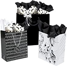 Musical Themed Gift Bags Wrap Assorted with Coordinating Tissue Paper and Raffia Ribbon (Music Notes)