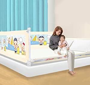 Q amp Z Toddler Bed Rail Baby Bed Guardrail Protection Vertical Lifting Portable Anti-Fall Mesh Fence Gears Adjustable Fit Your Mattress with Safety Lockable Buckle and Storage Bags