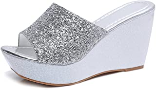 Women's Open Toe Slip On Clogs Wedge Platform Slides Sandals Beach Sandal Slippers