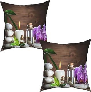 Paquete de 2 Fundas de Cojín Fundas de Almohada,Aceite de Masaje White Zen Balance Stones Orquídea y,cuadradas Cojín Liso Decoración para el hogar Decoraciones para sofá Sofá Cama Silla (50x50cm) x2