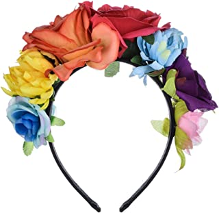 Floral Fall Day of The Dead Flower Crown Festival Headband Rose Mexican Floral Headpiece HC-23