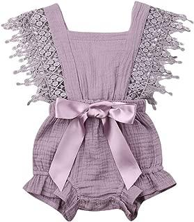 Newborn Baby Girl Rompers Lace Flutter Sleeve Bowknot Jumpsuit Bodysuit Princess Clothes