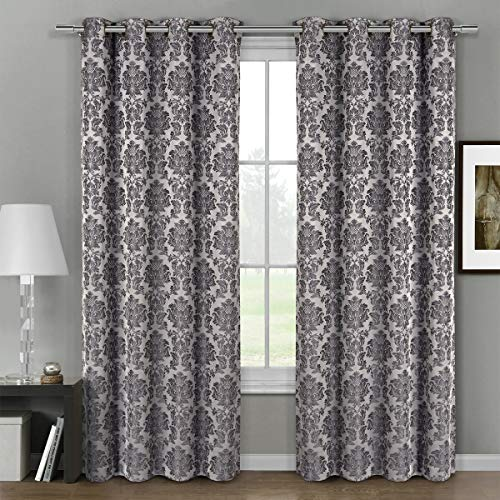 """Deluxe Energy Efficient & Room Darkening. Pair of Two Top Floral Grommet Jacquard Curtain Panel, Elegant and Contemporary Aryanna Panel, Grey, 108"""" L Panel"""