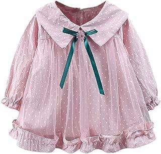 0-3 Months Baby Girl Boy Clothes,Infant Baby Girls Long Sleeve Dot Print Tulle Princess Dresses Ruffles Dress