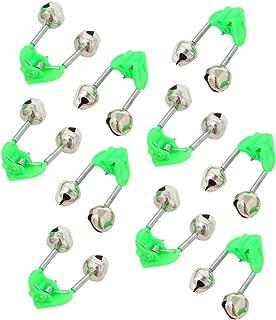 wingsflying 10 Pcs Fishing Rod Extra Loud Alarm Dual Alert Bell Green Silver Tone
