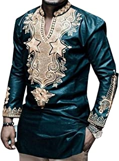 Bbalizko Mens Dashiki African Shirt Tribal Floral V Neck Slim Fit Blouse Tops Tee