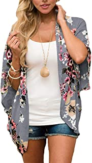 d5f4a38081 Women's Floral Print Puff Sleeve Kimono Cardigan Loose Cover Up Casual  Blouse Tops