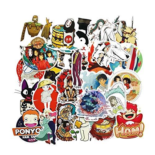 DSSJ Pegatina de Anime Miyazaki Hayao Spirited Away para monopatín, Nevera, portátil, Equipaje de Viaje,calcomanías de Graffiti, Pegatina 50 Uds