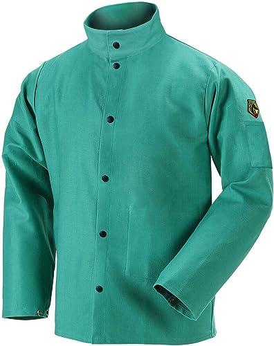 """Revco F930C-M Flame Retardant Coat, 9 oz. Cotton, Green, 30"""", Medium"""