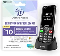 Jethro [SC490] 4G/LTE Unlocked Bar Style Cell Phone for Seniors and Kids with Unlimited 30 Days Plan, Large Screen & Big B...