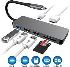HOPLAZA - Adaptador USB C Tipo C - Base USB C 5 en 1 con 4 K HDMI (30 Hz), 2 Puertos USB 3.0, Lector de Tarjetas SD/TF, Compatible con MacBook Pro/Air y más portátiles o Dispositivos Tipo C