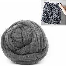 Giant Wool Yarn Chunky Arm Knitting Super Soft Wool Yarn Bulky Wool Roving (250g/0.55 lbs, Dark Grey)