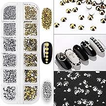 1440 PCS Crystals Nail Art Rhinestones Flatback Glass Charms Gems Stones with Storage Organizer Box 6 Sizes Jewels Diamonds for Nail, Make-up, DIY, Shoes Decoration (Metallic Silver, Metallic Gold)
