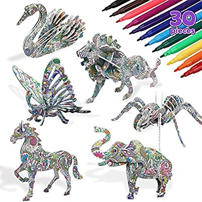 TOY Life 3D Coloring Puzzle Set - 6 Animals Puzzle with 24 Pen Markers Art and Craft Coloring Painting 3D Puzzles for Kids Ages 7 8 9 10 11 12 DIY Art Craft Toys Gift for Girls and Boy