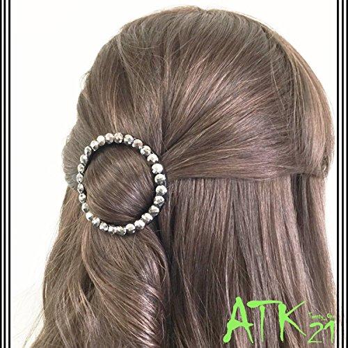 [ATK21]ラウンドサークルラインストーンフレームピンヘアクリップ簡単ヘアアレンジ髪留め大人アクセレディースヘアアクセサリー(ブラック)