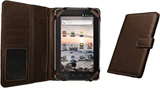 Navitech Genuine Brown Napa Leather Flip Open 7 Inch Book Style Carry Case / Cover Compatible With The Coby Kyros MID 7010, 7010C, 7013, 7018, 7001, 7012, 7016, 7022, 7120, 7125, 7127, 7024, 7026, 7027, 7037