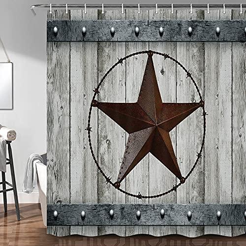 JAWO Rustic Wood Door with Southwestern Texas Star Shower Curtain for Bathroom Garage Barn Farmhouse Room Decor Bath Curtains(72x72 inches, Shower Curtain)