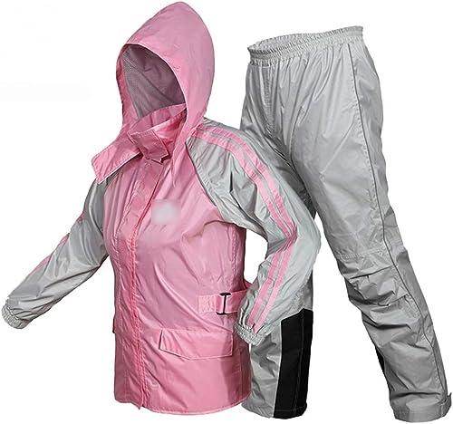 Vestes Coupe-Pluie- Les Hommes Femmes Imperméable Veste Pantalons Costumes Manteau Coupe-Vent Pantalon Ensemble Imperméable Moto avec Capuche Caché (Couleur   rose, Taille   M)