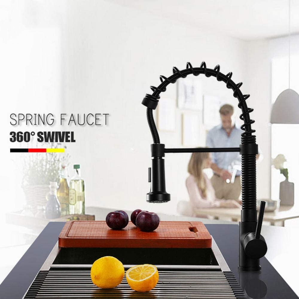 Kitchen 25% OFF Tap Matte Black Spring Faucet Pull 2-way Sp Down 5 ☆ popular