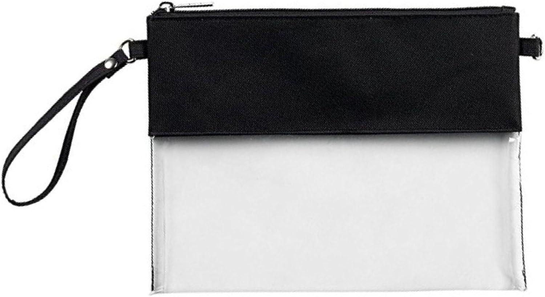 MONOBLANKS Clear Zip Pouch with Detachable,Crossbody Messenger Shoulder Bag Purse for Women Adjustable Strap