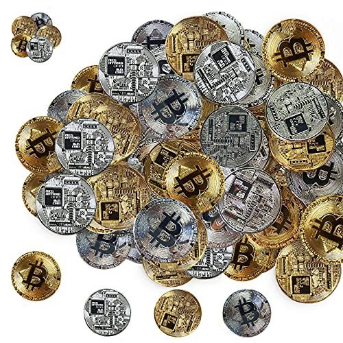 60Pcs Bitcoin, Gold and Silver Limited Edition Commemorative Bitcoin Cryptocurrency Virtual Currency Coins for…