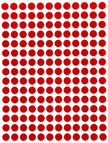 Bollini Adesivi Colorati Rotondi 8mm Rossi - Etichette Adesive Colorate Multiuso Scrivibili da 0,8cm - Confezione da 2520 Pezzi
